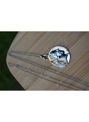 Stoneage Gümüş Kaplama Madalyon Kolye Zincirli Gümüş